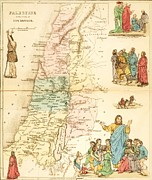 Old Map Drawings Framed Prints - Biblical Map Palestine Framed Print by Pg Reproductions