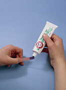 Brand Photo Posters - Bicarbonate Of Soda Toothpaste Test Poster by Andrew Lambert Photography