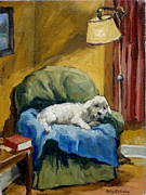 Sleepy Maltese Prints - Bichon Frise on Chair Print by Thor Wickstrom