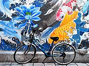 Mural Photos - Bicycle against Mural by Joe Bonita