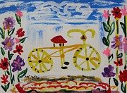 Pennsylvania Artist Drawings - Bicycle and Flowers by Mary Carol Williams