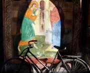 Mural Photo Posters - Bicycle and Mural Poster by Todd Fox