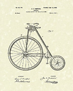 Antique Artwork Drawings Framed Prints - Bicycle Anderson 1899 Patent Art Framed Print by Prior Art Design