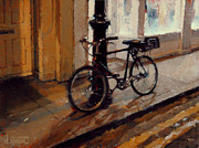 Poetic Paintings - Bicycle At Night by Nicolas Martin