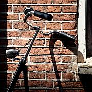 Brick Wall Prints - Bicycle Print by David Bowman
