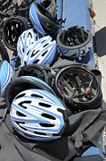 Gear Photo Posters - Bicycle Helmets Poster by Photostock-israel