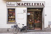 Delicatessen Meat Prints - Bicycle in Front of Italian Delicatessen Print by Jeremy Woodhouse