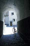 Cobblestones Posters - Bicycle in Tunnel Poster by Gordon Wood