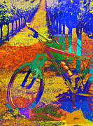 Vineyard Mixed Media - Bicycle in Vineyard by Anthony George