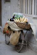 Baskets Posters - Bicycle Loaded With Food, Delhi, India Poster by David DuChemin