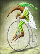 Fantasy Creatures Posters - Bicycle Poster by Lolita Bronzini