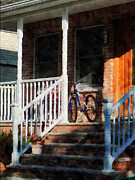 Bricks Framed Prints - Bicycle on Porch Framed Print by Susan Savad