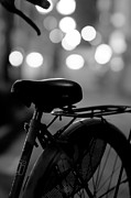 Black And White Photography Metal Prints - Bicycle On Street At Night In Osaka Japan Metal Print by Freedom Photography