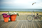 Flower Pots Posters - Bicycle on the Ocean City New Jersey Boardwalk. Poster by Melissa Ross