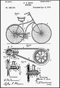 Vintage Bicycle Art - Bicycle Patent 1890 by Bill Cannon