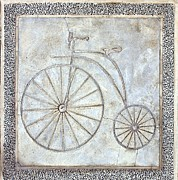 Concrete Floor Framed Prints - Bicycle Path Marking with High Wheel Bike Image Framed Print by Yali Shi