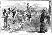 Penny Farthing Framed Prints - Bicycle Race, 1875 Framed Print by Granger