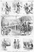 Penny Farthing Framed Prints - Bicycle Race, 1879 Framed Print by Granger