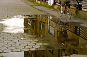 Puddle Posters - Bicycle Reflections Poster by Madeline Ellis