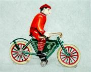 Antique Drawings Originals - Bicycle Rider by Glenda Zuckerman