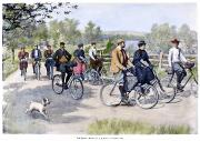 Bicycling Photos - Bicycle Tourists, 1896 by Granger