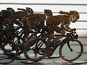 Steel Sculpture Posters - Bicycle Trophies Poster by Steve Mudge