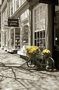 Hand Tinted Prints - Bicycle with Flowers - Nantucket Print by Henry Krauzyk