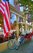 Indiana Acrylic Prints - Bicycles and Storefront Acrylic Print by Steven Ainsworth