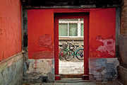 Doorway Posters - Bicycles In Red Doorway Poster by photo by Sharon Drummond