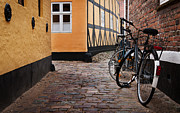 Jylland Prints - Bicycles in Ribe Print by Paul Davis