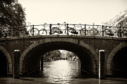 Leslie Leda Prints - Bicycles of Amsterdam Print by Leslie Leda