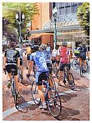 Portland - Oregon Posters - Bicycles on Broadway Poster by Mike Hill
