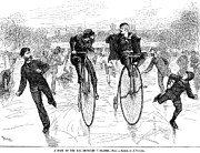 Penny Farthing Prints - Bicycles On Ice, 1881 Print by Granger