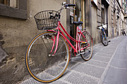 Greve In Chianti Photo Framed Prints - Bicycles Parked in the Street Framed Print by Jeremy Woodhouse