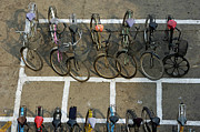 Conformity Photos - Bicycles parked on street by Sami Sarkis