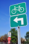 Traffic Sign Photos - Bicycles turn left sign. by Fernando Barozza