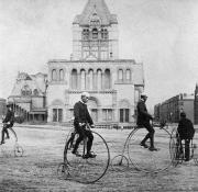 Penny Farthing Photos - BICYCLING, 1880s by Granger