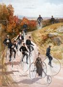 1887 Prints - Bicycling, 1887 Print by Granger