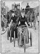 Bicycling Photos - Bicycling Women, 1892 by Granger