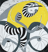Pants Drawings Posters - Bicyclist in Striped Pants Poster by Phil Burns