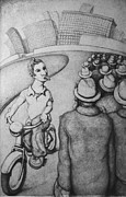 Skewed Drawings Prints - Bicyclist Print by Louis Gleason