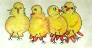 Little Birds Paintings - Biddies by KlausJuergen Rach