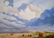 Hay Bales Painting Framed Prints - Big Alberta Sky Framed Print by Mohamed Hirji
