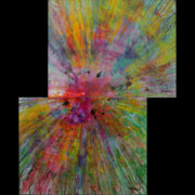 Fireworks Mixed Media Originals - Big BANG offset diptych set by James Douglas Draper
