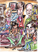 Caricature Mixed Media Prints - Big Bang Theory Print by Big Mike Roate