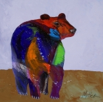 Black Painting Posters - Big Bear Poster by Tracy Miller