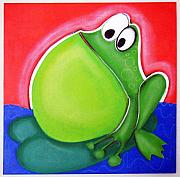 Hanging Pastels Originals - bIG bELLY fROG by Mara Morea