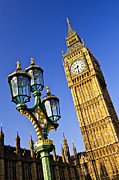 Streetlight Prints - Big Ben and Palace of Westminster Print by Elena Elisseeva