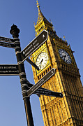 Signpost Posters - Big Ben clock tower Poster by Elena Elisseeva