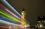 Big Ben Framed Prints - Big Ben Clocktower And Light Trails Framed Print by Henry Donald